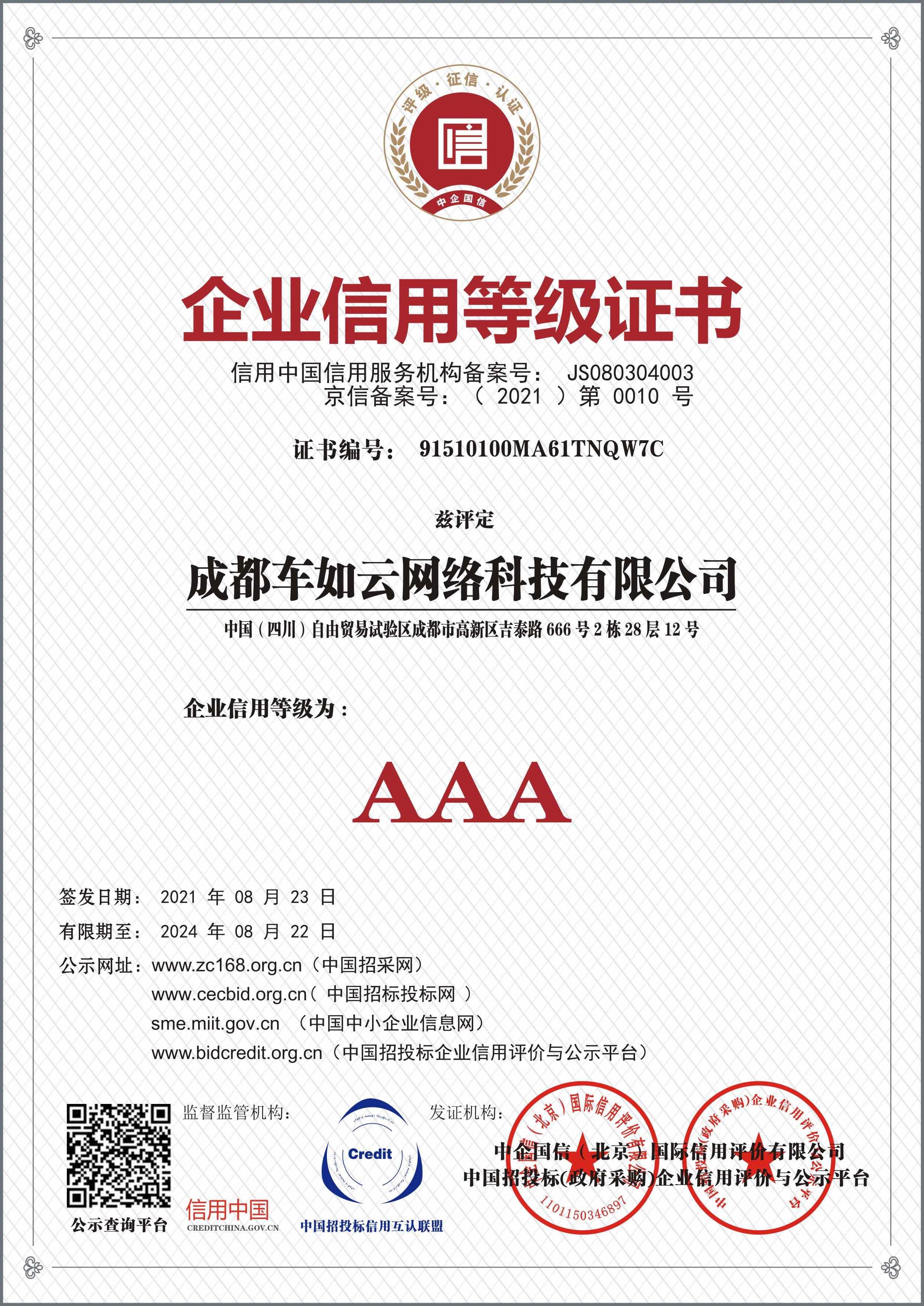 信用证书1